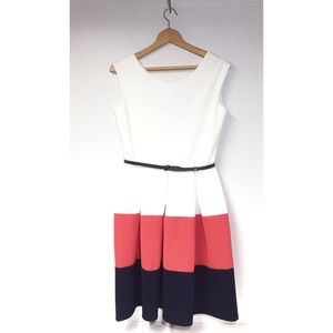 Tiana B White Coral Navy Color Block Sleeveless Fit & Flare Belted Dress SZ6